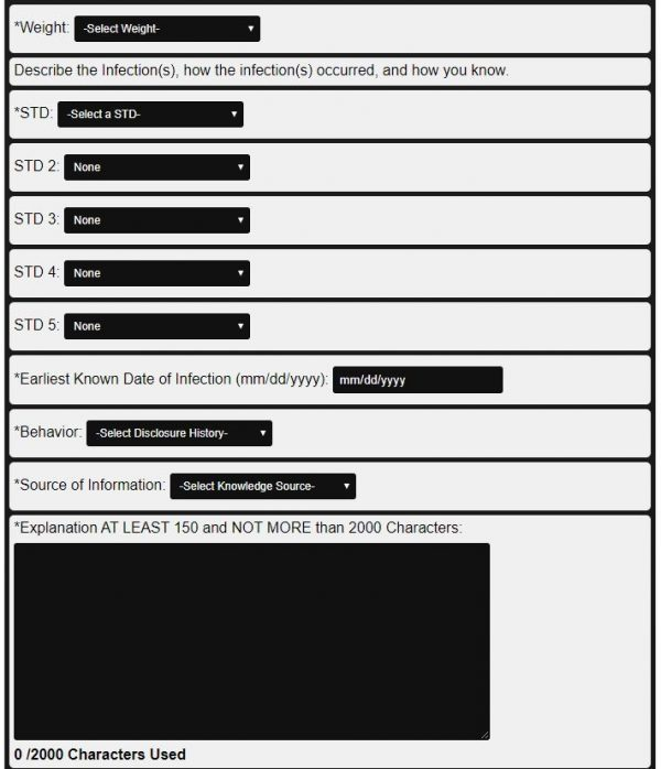 Official STD Monitor Form